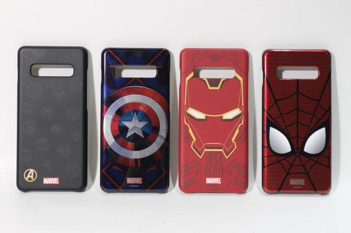 左起:復仇者聯盟標誌、美國隊長、鐵甲奇俠、蜘蛛俠。