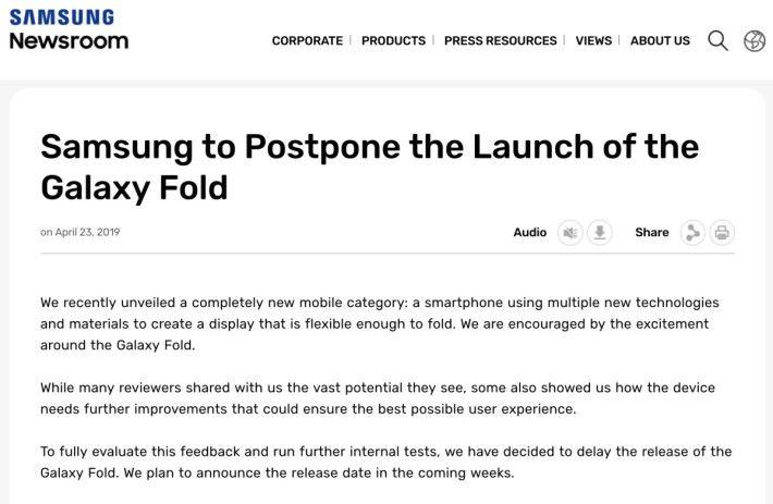 Samsung 發表聲明宣布押後 Galaxy Fold 推出