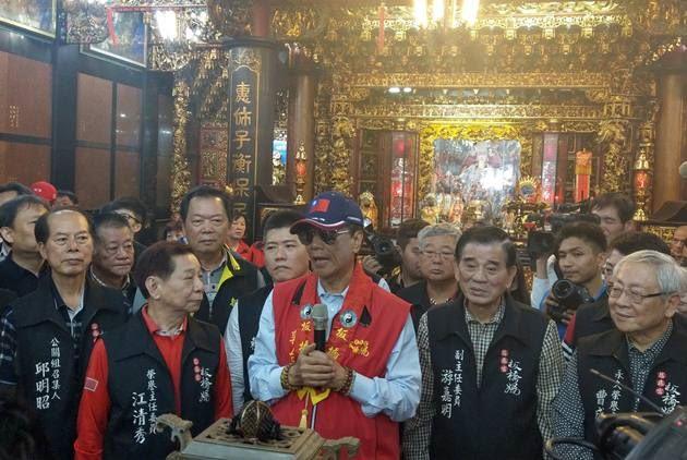 鴻海董事長郭台銘日前去參拜時表示會角逐 2020 年台灣總統選舉