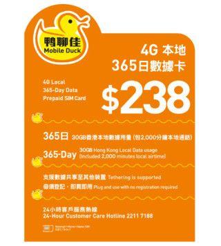 「鴨聊佳」本地 365 日數據卡面值 $238,市面售價大概 $130,此卡有 30GB 本地數據及 2,000本地通話分鐘,基本上已夠用。