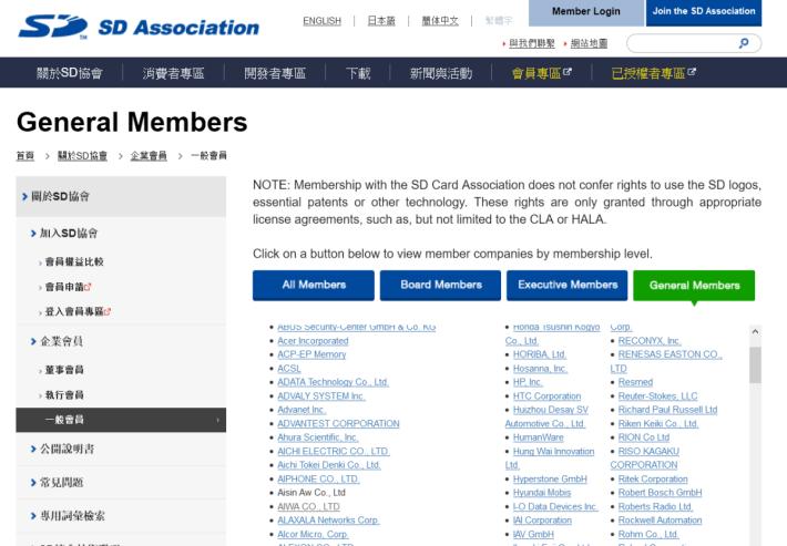 翻查 SD Association 的會員名單,確認華為已經被除名。