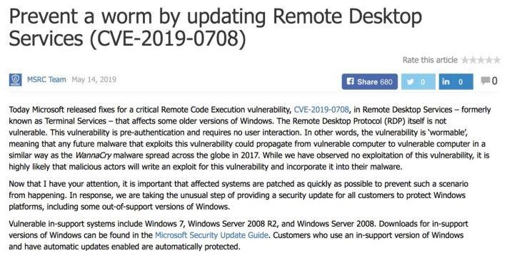 Microsoft 緊急應變中心表示今次漏洞與 2017 年造成廣泛感染的 WannaCry 一樣可以一部電腦傳染另一部電腦,呼籲用戶及早更新。
