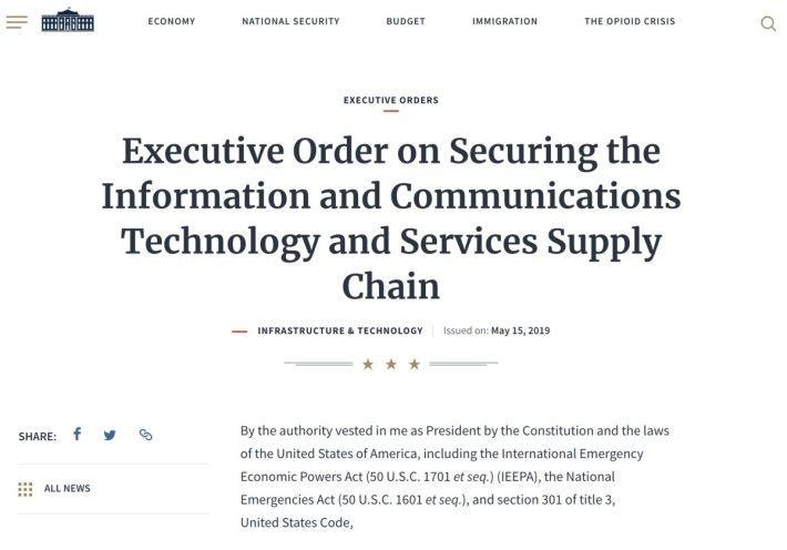 美國總統特朗普簽署行政命令,宣布授權商務部長禁止對美國國家安全及美國人有不可接受風險的交易。