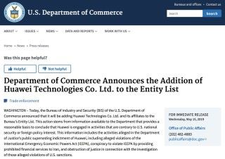 美國商務部工業安全局將 Huawei 及其 70 間關連企業,加入「實體清單」,未得美國政府許可不能從美國企業採購零部件。