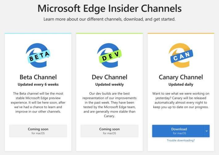 macOS 版 Edge 瀏覽器先推出每日自動發布的 Canary 版,每星期更新、經過測試的 Dev 版亦會在稍後推出。