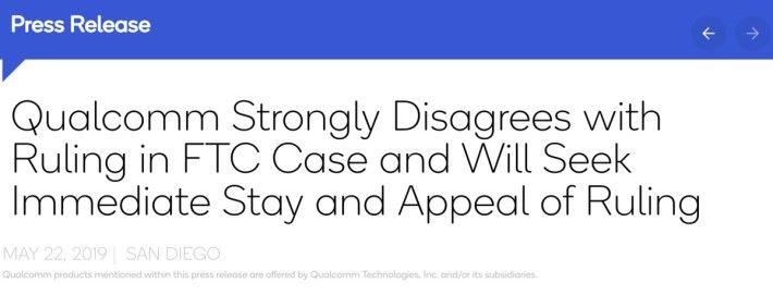 Qualcomm 在裁決後發表聲明,強烈反對裁決,並宣布會立即要求暫緩執行裁決,及提出上訴。