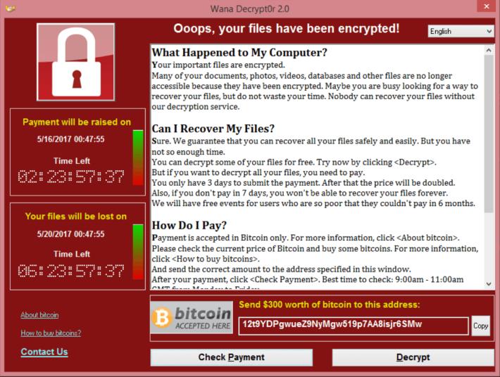 WannaCry 2017 年肆虐,受感染電腦會被加密上鎖,並勒索每部電腦 $300 美元。