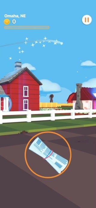 遊戲參考 80 年代雅達利遊戲《 Paperboy 》的玩法,要將報紙投掟到訂戶家中。