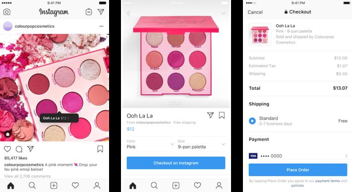 透過 checkout 功能,品牌生產商可以直接透過官方 Instagram 帳戶銷售產品。