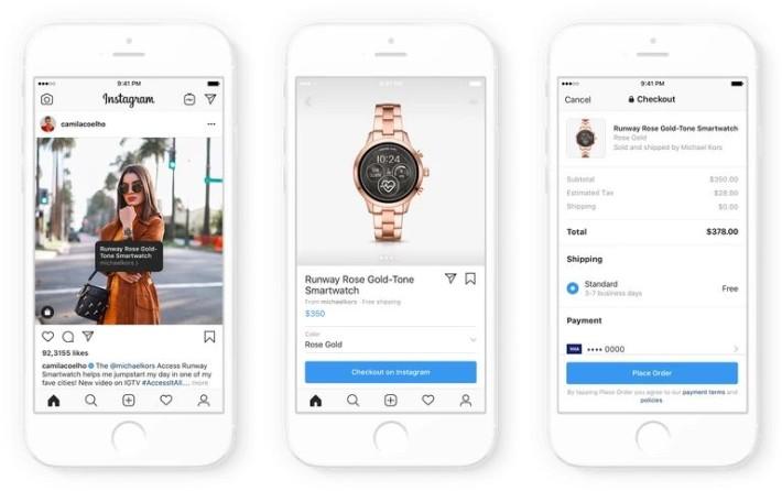 擴展了的 Checkout 功能可以讓用戶直接選購名人帖子上心儀的服裝飾物