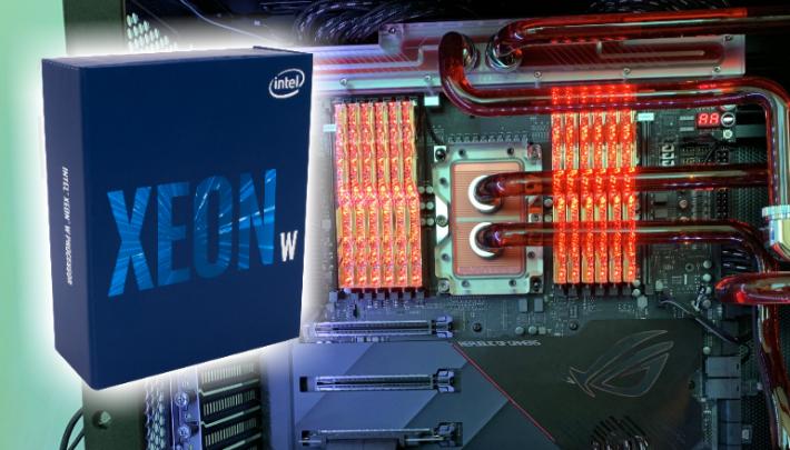Xeon W-3175X 採用 C621 主機板,如圖片背後的 ASUS ROG Dominus Extreme,打破 X599 的謠言。