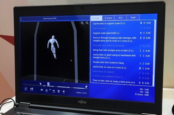 3D 雷射感測器擷取的動作影像可即時透過人工智能評分系統建立 CG 模型,展示及分析動作及難度等,輔助現場評判作出判斷。