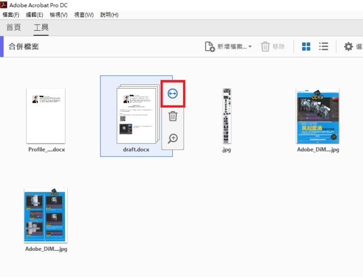 處理包含多頁的文件時,可把游標置於頁面或檔案上方,然後按一下「展開」(Expand pages)圖示(見左圖紅框)。