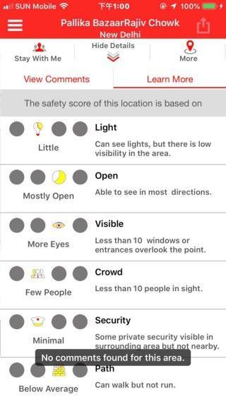 安全程度會根據照明、可見度、交通、人口密度等資料作評級。