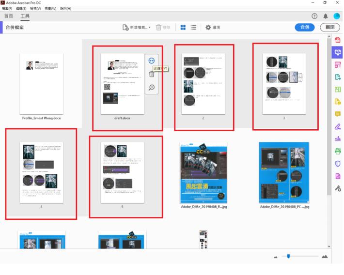 在展開檢視畫面後(見右圖紅框),你可以看到包含在該檔案中的所有頁面及自由調動頁面的次序。