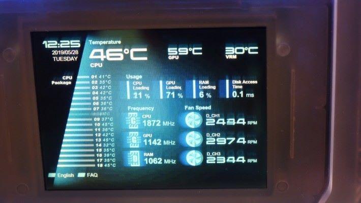 看到 CPU / RAM / GPU 負載、時脈、温度等數據。