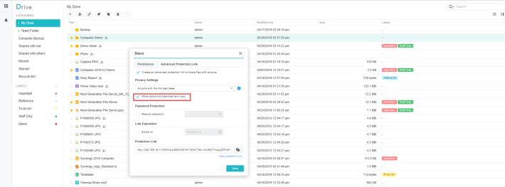 可以取消勾選這格,防止別人下載及複製檔案。