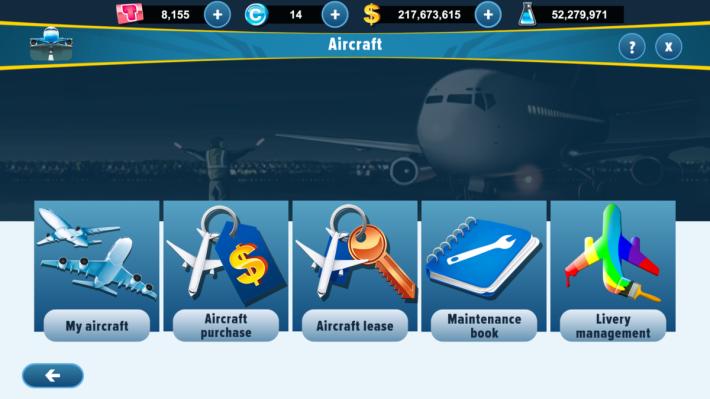 遊戲可以讓玩家購買航機,亦設有租機服務,可以用最少資金換取最大收入。