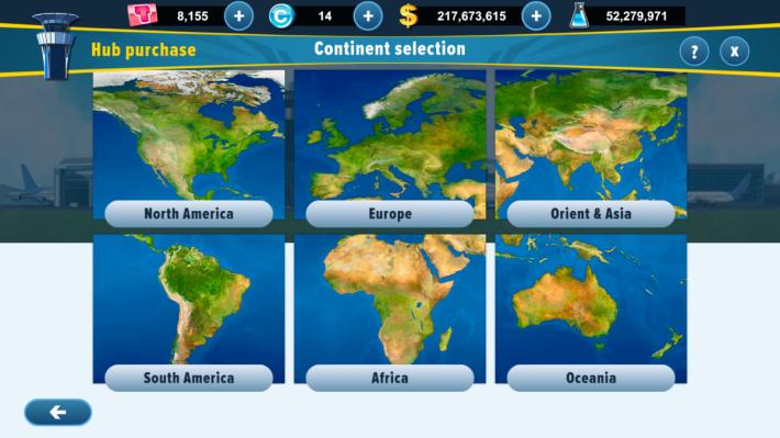 遊戲開始要選定地區作為基地,全部城市名稱會依據現實機場而定。