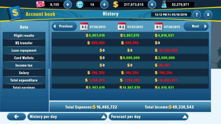 當完成飛行,就可以成功賺取收入,遊戲中亦設有不同的報表,可以隨時查 數。