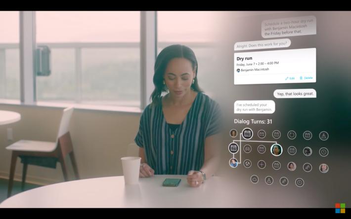 短片示範的對話,人與機械人的往來逾 30 次,而且通過背後連繫不同系統。
