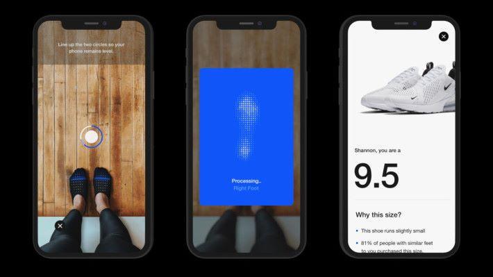 Nike Fit 以手機鏡頭來測量雙腳 13 個數據點,以建立雙腳的形態,為用戶按靯款選擇合適尺碼。
