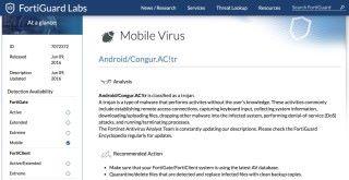 據 FortiGuard Labs 指, Android/Congur.AC!tr 是一款可以遠端控制手機、側錄用戶鍵盤輸入、上下載惡意程式進行 DDoS 攻擊的木馬程式。