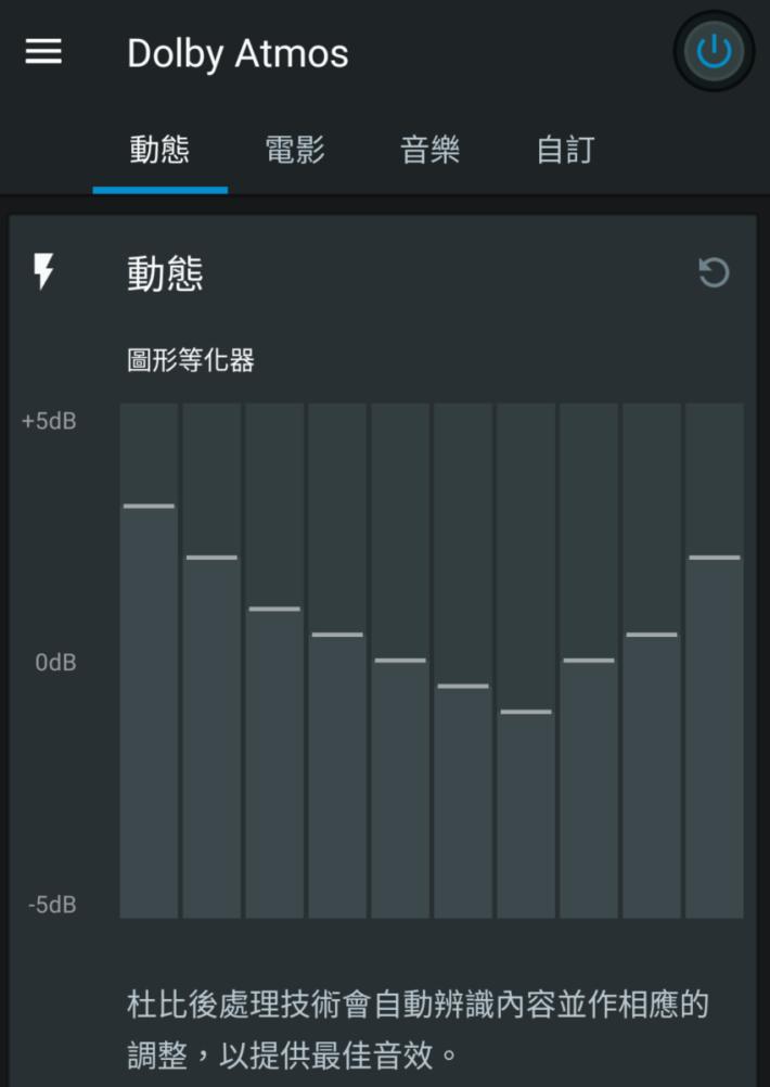.XPERIA 1 首度支援 Dolby Atmos 音效,可以自行設定音質均衡器或使用不同預設模式。開啟 Dolby Atmos 後,觀看電影時聲音動態範圍會變得豐富,低頻和對白人聲層次感增加,不過環繞聲效果不算明顯。