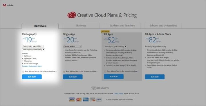 有媒體發現 Adobe 攝影計劃突然加價一倍