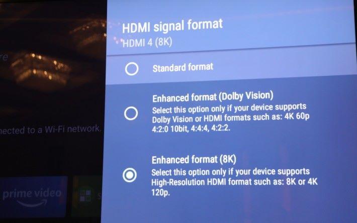 .雖然未有 8K 訊源,但 Z9G 已有一組 HDMI 支援 8K 或 4K 120p 輸入。