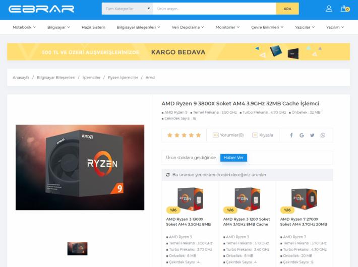 土耳其網店 Ebrar Computer 將 Ryzen 9 3800X 上架。