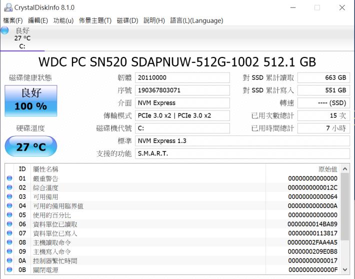 送測機種的 512GB 為 PCIe Gen 3 x2 通道,1TB 才是 x4。