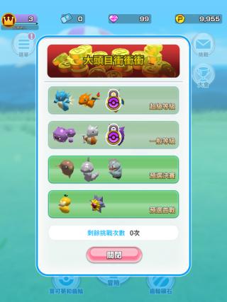 大會暫時限制了每日一次,玩家必須要練好自己的出戰 Pokemon 才衝入去挑戰至少連續兩場的 Boss 戰。