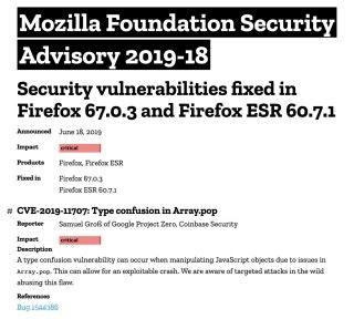 Mozilla 基金會將漏洞級別定為最高的 Critial