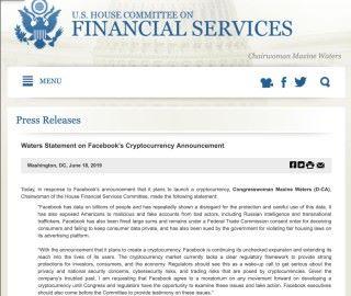 美國眾議院金融服務委員會主席,民主黨議員 Maxine Waters 發表聲明要求 Facebook 停止加密貨幣計劃,並出席委員會作供。