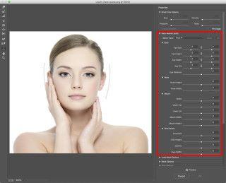 Photoshop 裡有專門用來美顏的濾鏡「 Face Aware Liquify 」