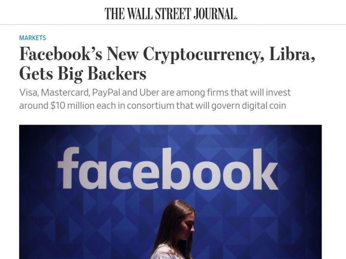 華爾街日報報道 Facebook 的加密貨幣 Libra 得到十多間企業和投資基金支持