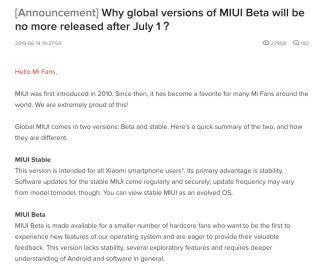 小米國際版社群論壇解釋為甚麼結束 MIUI 測試版