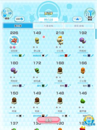 Pokemon 在正式進入冒險時,會分成兩類包括「全部」和「可一起冒險」,但一定選最高 CP 值的 Pokemon 出戰。