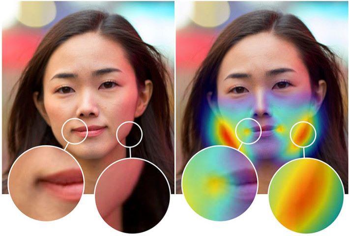 左邊是經過美顏的照片,右邊人工智能就標示出經過修改的地方。