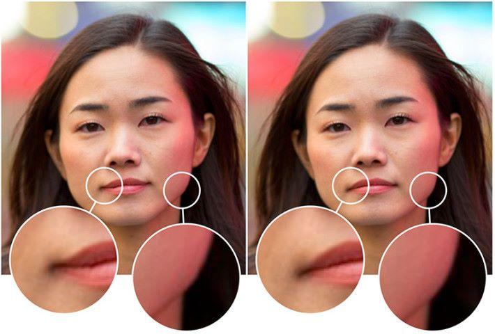 左邊照片是人工智能還原的照片,而右邊就是美顏修改前的原照片。