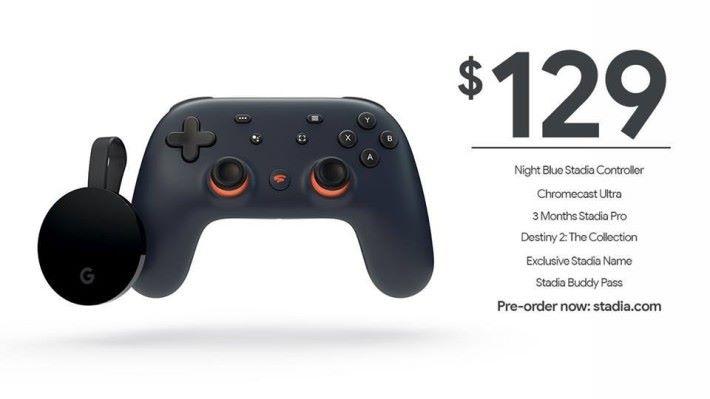 Stadia Founder's Edition 除了有手掣和 Chromecast Ultra 之外,還有 3 個月 Stadia Pro 服務和總值達 $300 美元的遊戲。