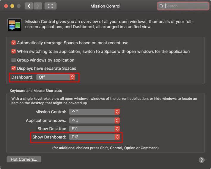 直至 macOS Mojave ,大家還可以在「系統偏好設定>指揮中心」裡開啟 Dashboard 。