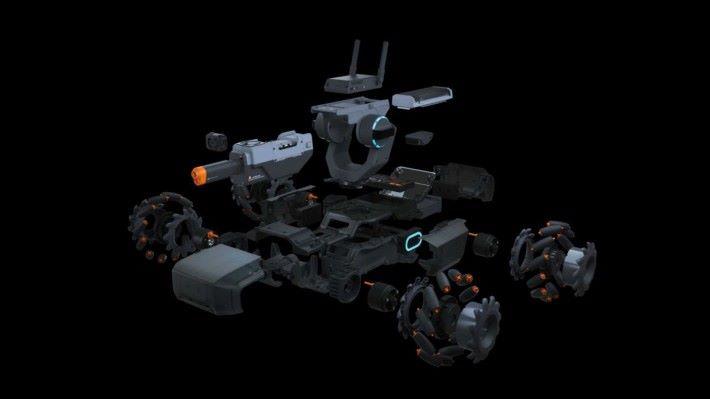 ROBOMASTER S1 由頂部的中央控制、發射器、二軸雲台、電動摩打、多向行動的麥克納姆車輪和感應裝甲組成,裝嵌時間約需兩小時。