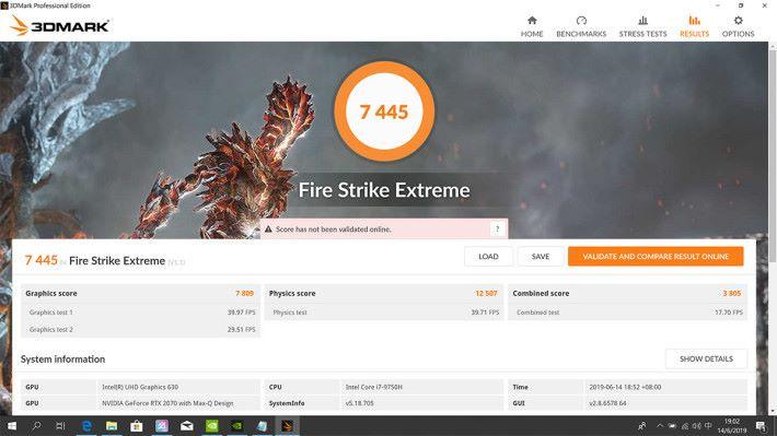 于《Fire Stirke Extreme》测试获得7,445 分,于运行DirectX 11 软件时表现优秀。