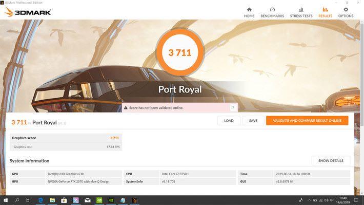 于测试Ray Tracing 的《Port Royal》中取得3,711 分。