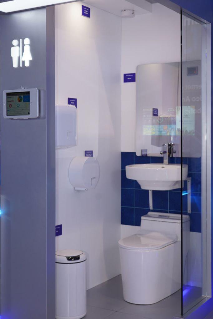 智能洗手間,利用大量感應器幫助清潔及管理廁所。