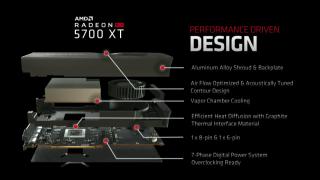 RX 5700 XT 擁有 7 相供電,採用 8pin + 6pin PCI-E 供電設計。