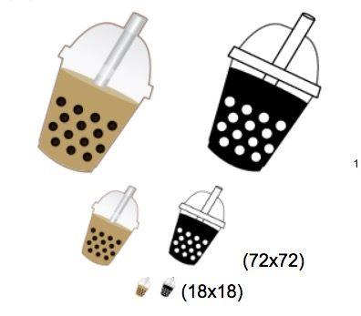 Emoji-draft-bubble-tea-color-bw-in-pdf