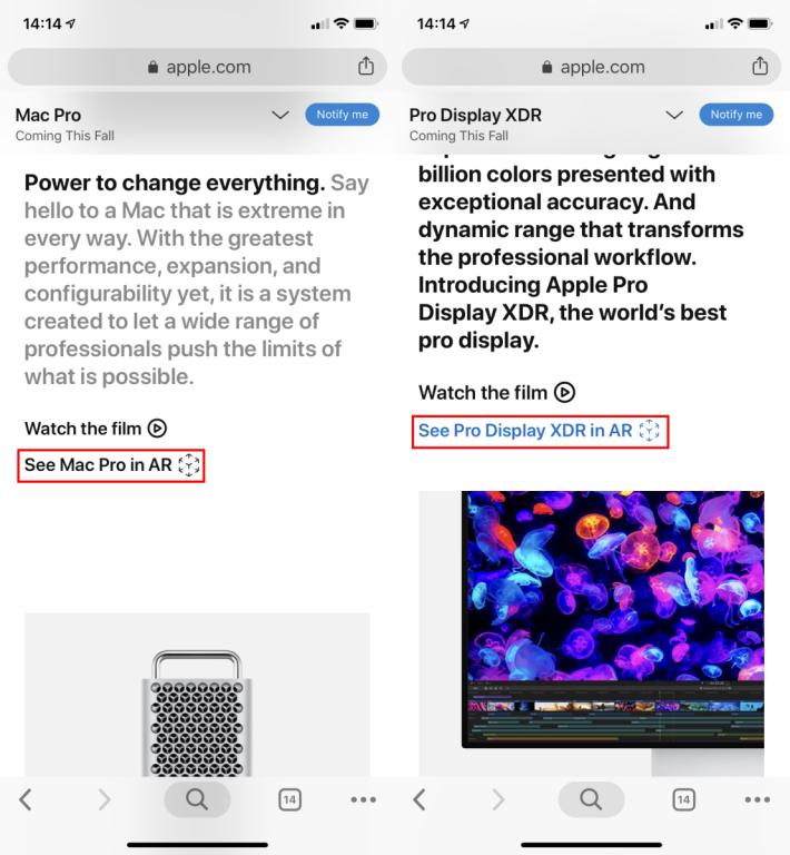 Mac Pro 和 Pro Display XDR 網頁第一段之下都有 AR 連結,如果看不見的話就代表你的手機不對應 AR 。